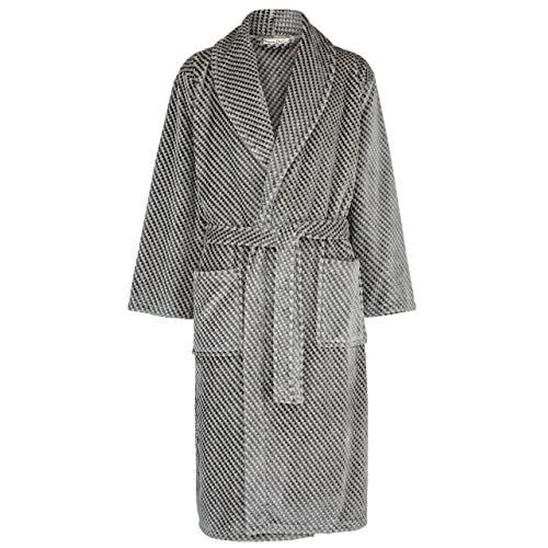 Walker Reid by Slenderella Mens Check Coral Fleece Dressing Gown Wrap Robe