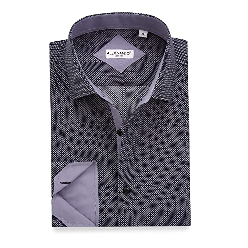 Paul Fredrick Mens Slim Fit Non-Iron Cotton Button Down Collar Dress Shirt Black 15.0//32