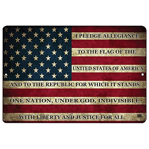 Buy Rogue River Tactical Usa American Flag Metal Tin Sign Wall Decor Man Cave Bar Us Pledge Of Allegiance Online In Kuwait B07ffff6gn
