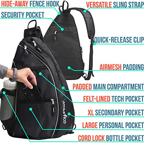 Tennis Bag Holds 2 Rackets in Padded Compartment Tennis Bags for Men or Women Separate Ventilated Shoe Compartment Athletico Premier Tennis Backpack