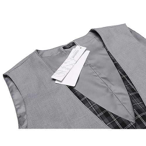 Dinner 21SuitVest Date COOFANDY Mens Business Suit Vest layered Plaid Dress Waistcoat for Wedding