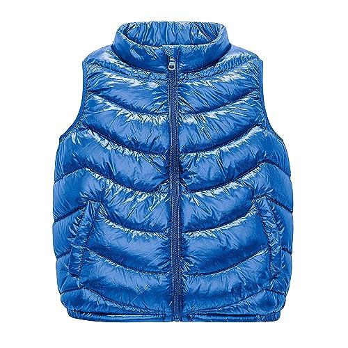 IKALI Boys Girls Lightweight Puffer Vest Winter Outerwear Gilet Kids Hooded Sleeveless Jacket