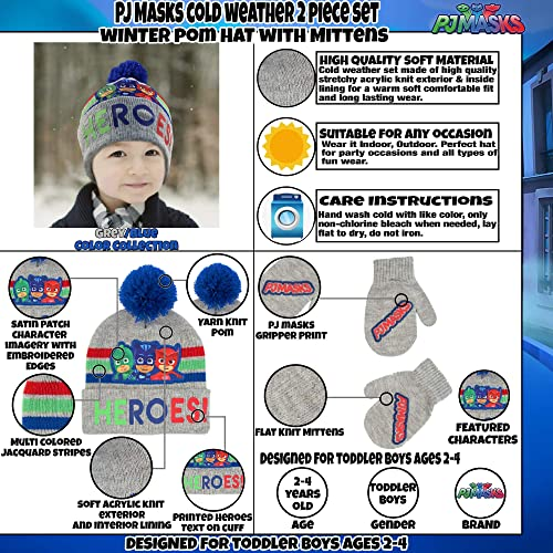 Blue//Red//Grey PJ Masks Toddler Boys Assorted Characters Beanie Hat and Mittens Cold Weather Set Age 2-4