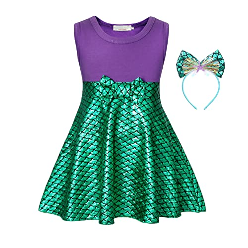 ALIZIWAY Little Girl Mermaid Princess Dresses Ariel Costume for Grils Birthday Party Halloween Cosplay Costumes