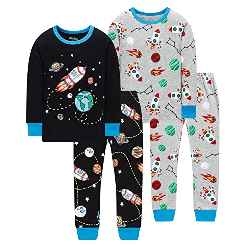 shelry Pajamas for Boys and Girls Kids Dinosaur Sleepwear Baby Christmas Clothes Toddler Children 4 Pieces Pants Set