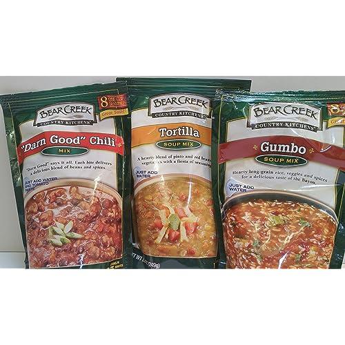 Buy Bear Creek Country Kitchens Soup Mix 3 Flavor Variety Bundle 1 Gumbo 1 Tortilla 1 Darn Good Chili 8 8 9 8 Oz Each Online In Kuwait B01ayaieda