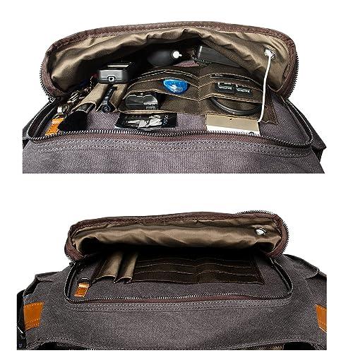Estarer DSLR Camera Laptop Messenger Bag with Padded Insert for Canon Nikon Sony Olympus Fujifilm Panasonic Lumix,Large Canvas Shoulder Bag for Work