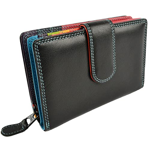Ladies QUALITY Leather Purse//Wallet by GOLUNSKI Black /& Tan Zen Collection