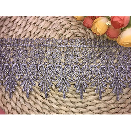 9CM Width Europe Crown Pattern Inelastic Embroidery Lace Trim,Curtain Tablecloth Slipcover Bridal DIY Clothing//Accessories. Light Blue 4 Yards in one Package