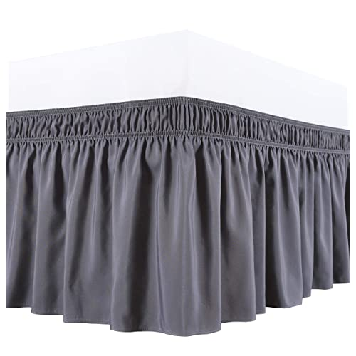 Queen Multi Drop,Wrap Around Bed Skirts Elastic Dust Ruffles All Solid Color