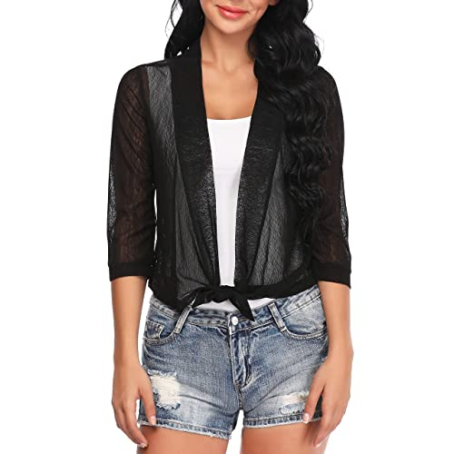 Womens Knitted Sheer Shrug Cardigan Lightweight Cropped Top Short Sleeve Jacket