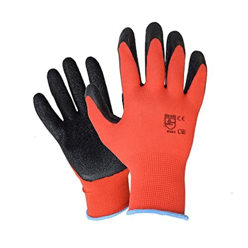 6 Pairs LATEX COATED WORK GLOVES RUBBER SAFE BUILDER GRIP GARDENING RED