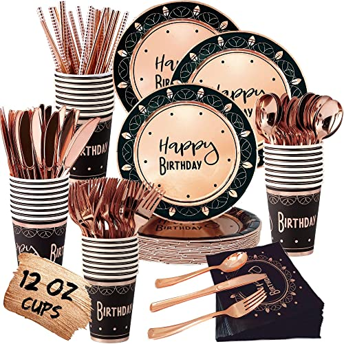Buy Black And Rose Gold Party Supplies Set Services 24 Birthday Plates And Napkins With Rose Gold Cutlery Includes Knives Spoons Forks Straws Rose Gold Paper Plates Cups 30th 40th