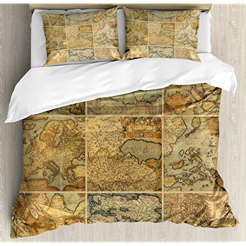 Ambesonne World Map Duvet Cover Set Queen Size, Collage with Antique Old  World Maps Vintage Ancient Collection of Civilization, Decorative 3 Piece  ...