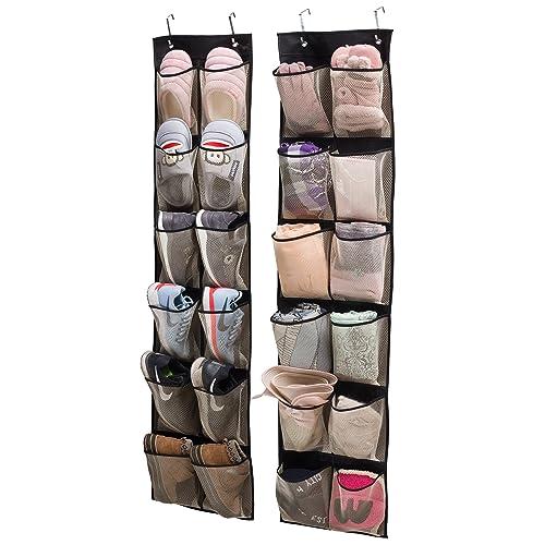 KIMBORA Over The Door Hanging Shoe Organizer 24 Large Clear Mesh Pockets Shoe...