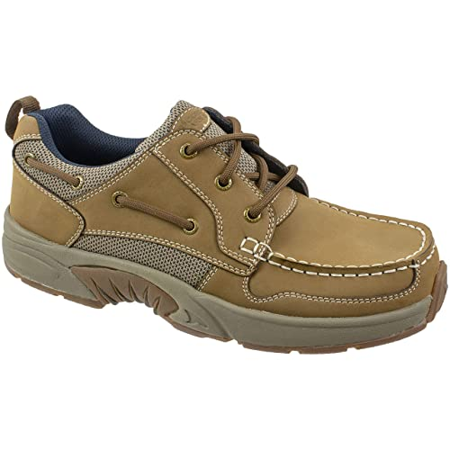 Premium Genuine Leather with Odor Control Technology Rugged Shark Mens Boat Shoe Size 8 to 13 Classic Look