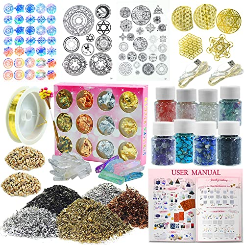 Mineral Stone LED and More Metal Filler Wires Funshowcase Resin Art Pyramid Making Supplies Pack of 36 Kits Energy Generator Symbol