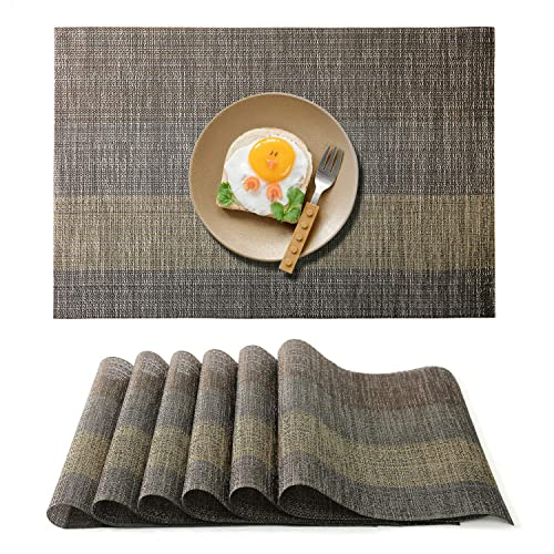 Smeala Placemats Set of 6 Table Placemats Heat Resistant Table Mats /& Stain Resistant Non-slip Washable Place Mats for Kitchen and Dining Room 45 X 30 cm blue