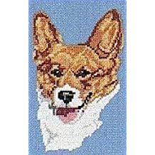 CaptainCrafts New Stamped Cross Stitch Kits Preprinted Pattern Counted Embroidery Starter Kits for Beginner Kids and Adults Stamped 14CT DIY Artwork Needlecrafts Smiling Yellow Puppy Shiba Inu