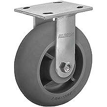 500 lb Albion 16MR06201R 6 Diameter Moldon Rubber on Cast Iron Wheel Medium Heavy Duty Rigid Caster Roller Bearing Capacity 4-1//2 Length x 4 Width Base Plate