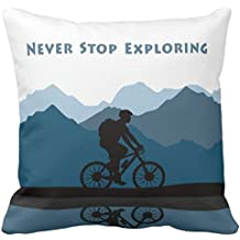 Ambesonne Vintage Decor Throw Pillow Cushion Cover by Decorative Square Accent Pillow Case 16 X 16 Inches Multi Big Cute Bear on a Bike Bicycle Cycling Hipster Circus Life Outdoor Animal Enjoy