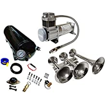 Viking Horns V103C-5//311-1HC Three Trumpet 200 PSI Train Air Horn Kit with 3 Weather Protection Trumpet Covers