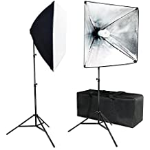 Julius Studio JSAG573 Professional Studio Blue Red Color Gel Filter 20 X 28 Inch Soft Box Lighting Kit with Photo Bulb Color Mixing Light Setups for Filmmakers and Photographers 2-Pack