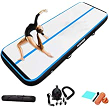 4 Thick Airtrack with Electric Air Pump for Gym//Training//Yoga//Cheerleading//Aqua Fitness 7ft//10ft//13ft//16ft Long Inflatable Gymnastics Tumble Track for Kids WOWSEE Air Track Tumbling Mat