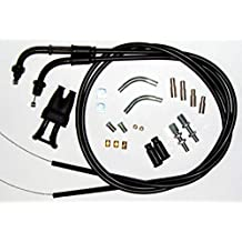 Venhill U01-4-405 Harley-Davidson V-Twin Motorcycle Braided Throttle and Idle Cable Kit Two Cables, Threaded Bends