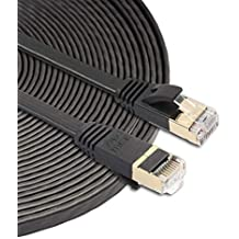 Todayday Normal 1.8m CAT7 10 Gigabit Ethernet Ultra Flat Patch Cable for Modem Router LAN Network ,The Clip Protector Keeps The RJ45 Connector from unw Black Built with Shielded RJ45 Connectors