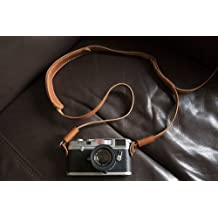Handmade Genuine Real Leather Camera Strap Neck Strap for Film Evil Dslr Camera Dark Brown 01-153