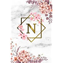 Grey Marble /& Gold Pink Floral Print K Cute Initial Monogram Letter K College Ruled Notebook Pretty Personalized Medium Lined Journal /& Diary for Writing /& Note Taking for Girls and Women