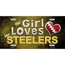 Smart Blonde LP-8034 This Girl Loves Her Steelers Novelty Metal License Plate