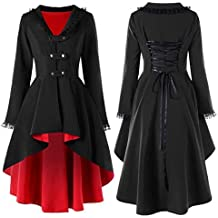 COPPEN Women Vintage Steampunk Long Coat Gothic Overcoat Ladies Retro Jacket