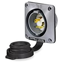 3-Phase 480VAC White L16-20P 4-Wire Grounding 3-Pole 20 amp Hubbell Wiring Systems HBL2435SW Twist-Lock Watertight Safety Shroud Flanged Inlet