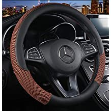 Warm in Winter and Cool in Summer Breathable Anti-Slip ZHOL Universal 15 inch Steering Wheel Cover Microfiber Leather and Viscose Odorless Black