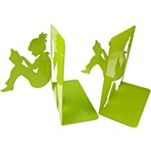 Green Unigift 3D Paper-Cut Little Girl is Reading Pattern Metal Bookends with A Reading Lamp Bookmark for Kids Teenagers Teachers Students Study Home School Library Office Decoration Birthday Gift