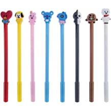 0.7mm For School Office Student Supply Comidox 8Pcs BTS Bangtan Boys 10 in 1 Color Retractable Ballpoint Pen Creative Cartoon Shape Multicolor Pens Medium Point