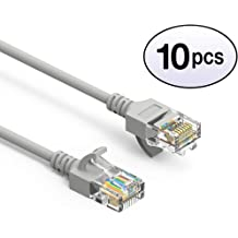 GOWOS 100-Pack RJ45 10Gbps High Speed LAN Internet Patch Cord Computer Network Cable with Bootless Connector Cat6 Ethernet Cable 1 Feet - Black Available in 28 Lengths and 10 Colors UTP