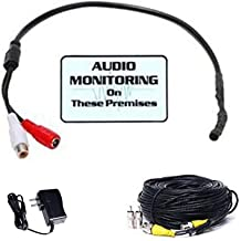 Extension Cable and Free Warning Decal W0F VideoSecu High Sensitive Pre-amp Audio Mini Microphone Sound Voice Pickup Kit with Power Supply