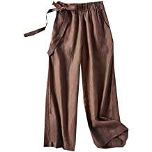 Smileyth Women Drawstring Wide Leg Pants High Waist Pleated Solid Color Elastic Waist Full Length Sweatpants with Pockets Casual Loose Fit Lightweight Comfy Lounge Trousers