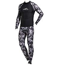 CofeeMO Long Sleeve Front Zipper Neoprene Men Wetsuit,UV UPF50 Sun Protection Surfing Diving Swimsuit