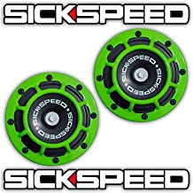 Sickspeed 2Pc Neon Green Super Loud Compact Electric Blast Tone Horn Car//Truck//SUV 12V P5 for Jeep CJ7