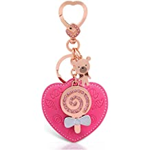 1 Pack Red Enamel Gold Crystal Rhinestone Purse Metal Keyring Pendant Teen Keys Hook Hooks Key Tag Grandiose Popular Pocket Women Bag Car Keychains
