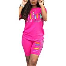 Womens Rainbows 2 Piece Outfit Casual Short Sleeve T-Shirts Bodycon Shorts Set Jumpsuit Rompers
