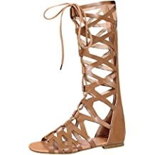 f301fc1d4 Goddessvan 2019 Sandals for Women Gladiator Flat Lace Up Suede Knee High  Strappy Thong Sandals