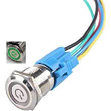 Install Instruction Gebildet 2pcs 0.75//19mm Stainless Steel Latching Push Button Switch 12V-24V 5A Power Symbol LED SPDT ON Off Waterproof Toggle Switch with Wire Socket Blue + White LED