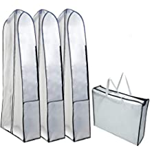 Linens Breathable Garment Bag Covers Set of 3 for Suit Carriers Storage or Travel Dresses TEERFU Garment Bags Suit Bag with Clear Window 10060cm