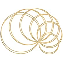 Outuxed 8pcs 12 Inches Dream Catcher Rings Metal Hoops Macrame Ring for Crafts and Dream Catcher Supplies Gold