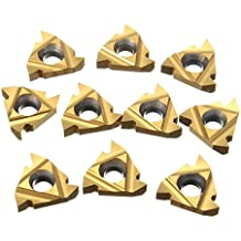 General Purpose Chip Breaker for Non-Ferrous Metals Left Hand Cut 5-7 TPI Dorian Tool 22EL PVD-TiN Coated Carbide Laydown External Threading Inserts V Thread Pack of 10
